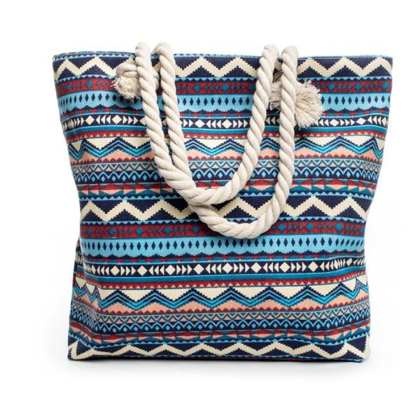 Canvas Bohemian Style Striped Shoulder Beach Bag - 64 Corp