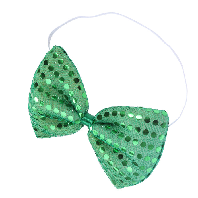 Men and Women's Fashion Sequin Bowtie Adjustable Pre-Tied Bow Tie for St. Patrick's Day(Green) - 64 Corp