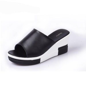Genuine Leather Flip Flops Wedges - 64 Corp