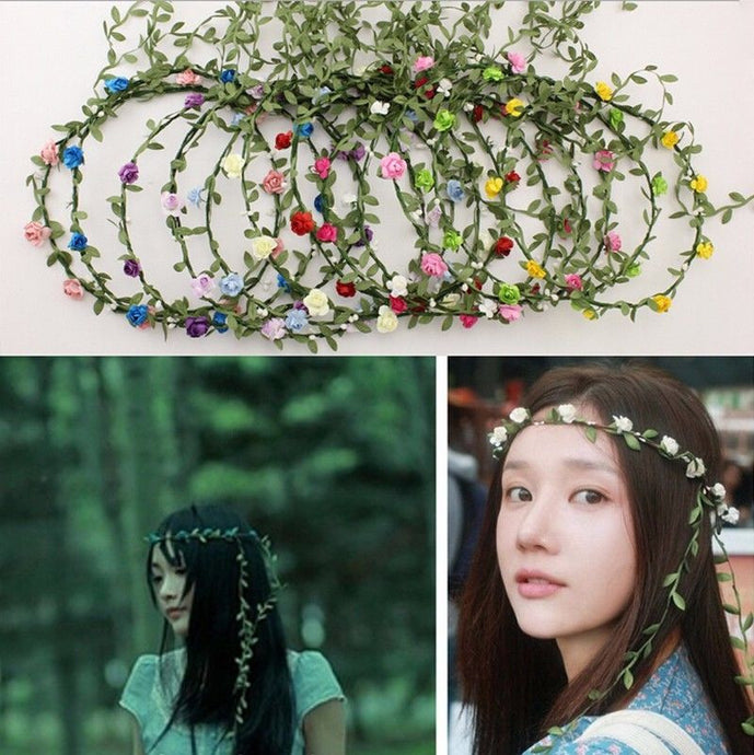 1pcs boho headband flower crown headbands Bridal wreath 8 flowers Wedding Garland hair accessories for women - 64 Corp