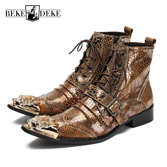 2018 New Snake Punk Martin Boots For Men Genuine Leather Buckle Metal Pointed Toe Male Ankle Boots Lace Up Gothic Riding Shoes - 64 Corp
