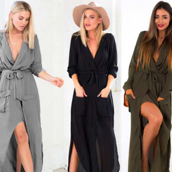 Sexy Split Maxi Long Shirt Dress - 64 Corp