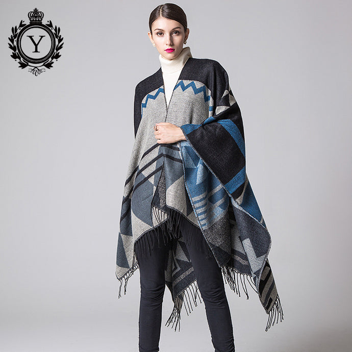 COUTUDI 2017 Winter Tassel Scarves Ponchos and Capes Women Warm Soft Imitate Cashmere Striped Shawls and Wraps Boho Knit Scarf - 64 Corp