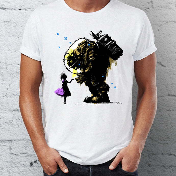 Men's T Shirt Bioshock Big Daddy and Little Sister Splicer Gaming Badass Artsy Tee - 64 Corp