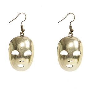 New Hot Artsy Vintage Shining Bronze/Silver Filled Mask Dangle Earrings - 64 Corp
