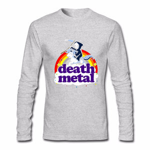 Men's T Shirt Death Metal Rocker T Shirt Unicorn Death Long Sleeve Custom Brand Clothing 2018 Cotton Crewneck Funny T Shirts - 64 Corp