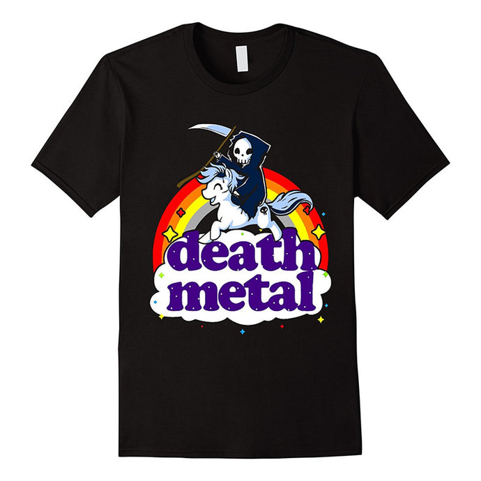 Fashion Funny Tops Tees Death Metal Rocker T-shirt Unicorn Death Graphic Tee Shirt Fashion Men T-shirt Clothes Printed Cotton Ma - 64 Corp