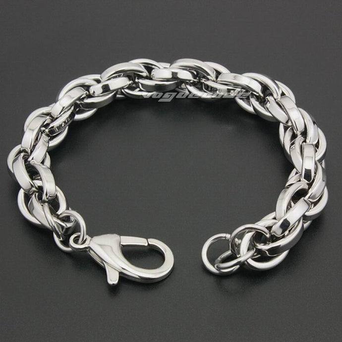 11 Lengths Silver Colour 316L Stainless Steel Mens Biker Rocker Punk Bracelet 5N008 Free Shipping - 64 Corp