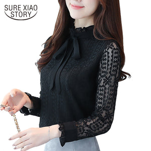 2017 new long sleeves women clothing solid lace women blouse blusas casual plus size bow stand neck women shirt blouse C871 30 - 64 Corp