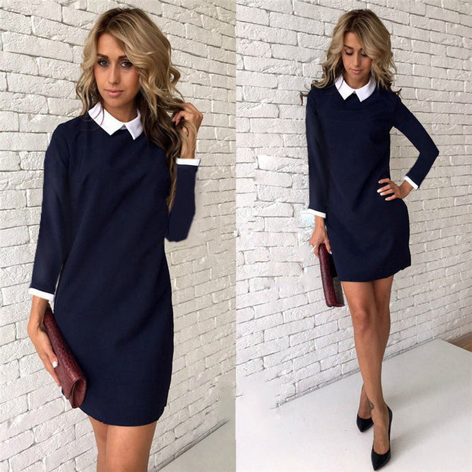 Fashion Autumn Winter Women's Elegant Casual Dress Slim Peter Pan Collar Long Sleeve Black Blue Pink Dresses for Women - 64 Corp