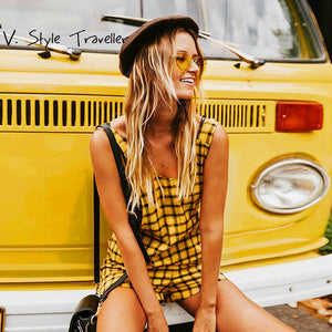 Yellow Check Playsuit Plaids Preppy Romper - 64 Corp
