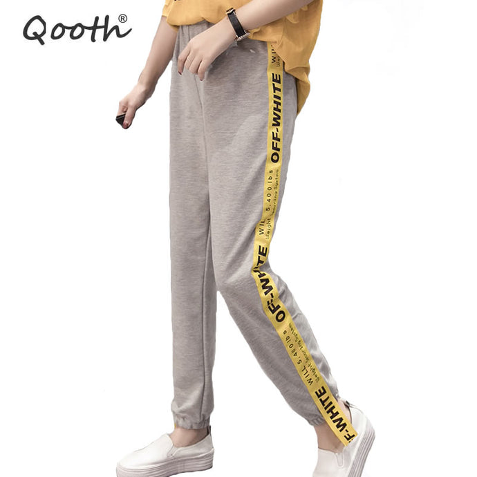 Qooth Preppy Style Harem Pants Ladies Casual Trousers Women's Spring Pencil Pants Elastic Waist Ankle-Length Casual Pants QH1084 - 64 Corp