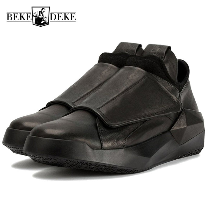 Korean Spring New Men Genuine Leather Casual Sneakers Gothic Thick Platform Punk Shoes Male Hip Hop Dancing Trainer Footwear - 64 Corp
