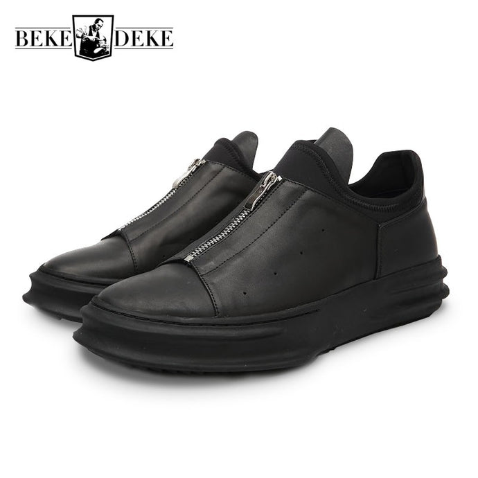 Italian Brand New Men Thick Platform Real Leather Casual Shoes Big Boys Zipper Gothic Hip Hop Footwear Male Retro Martin Shoes - 64 Corp