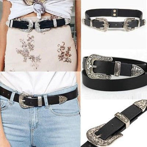 1 pcs Retro Carved Women Waist Belt Black Leather Western Cowgirl Waistband Double Metal Buckle Waist Belt - 64 Corp
