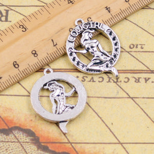 10pcs Charms girl cowgirl 34*26mm Tibetan Silver Plated Pendants Antique Jewelry Making DIY Handmade Craft - 64 Corp