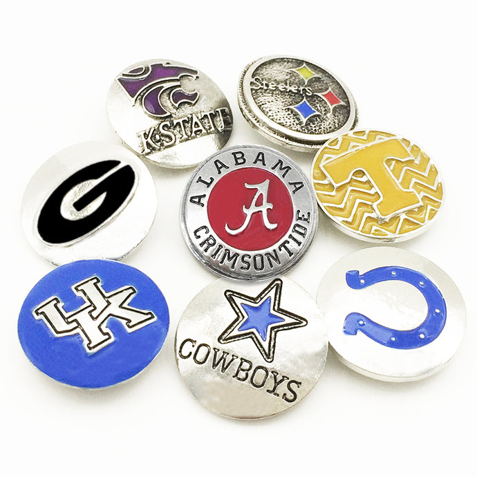 FM7160  Metal snap button  NCAA  Football  Georgia  STEELERS  kansas state  ALABAMA  COLTS Tennessee COWBOYS  UK DOLPHINS - 64 Corp