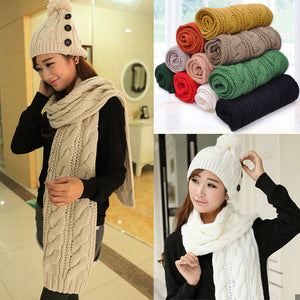 Solid Sleeves Scarf Winter Warm Knitting Long Soft - 64 Corp