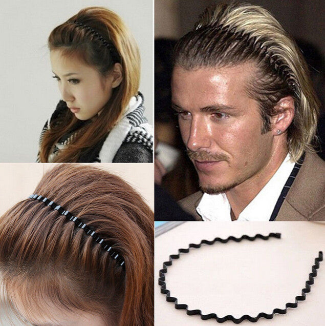 Men Women Unisex Black Wavy Hair jewelry Accessories Head Hoop Band Sport Headband Hairband Hairpins Styling Tools free shipping - 64 Corp