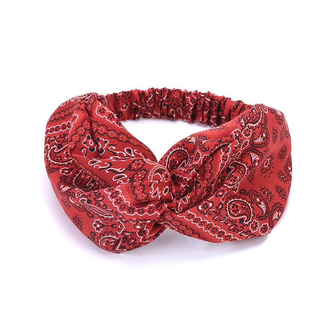 Boho National Red cashew nuts Fashion Crossed turban headbands hair head bands wrap accessories for women girls hair ornaments - 64 Corp