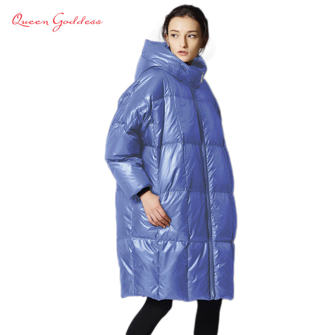 Female is long down jacket women 2017 parkas fashion casual loose filled 90% white duck coat cold weather plus size outwear - 64 Corp