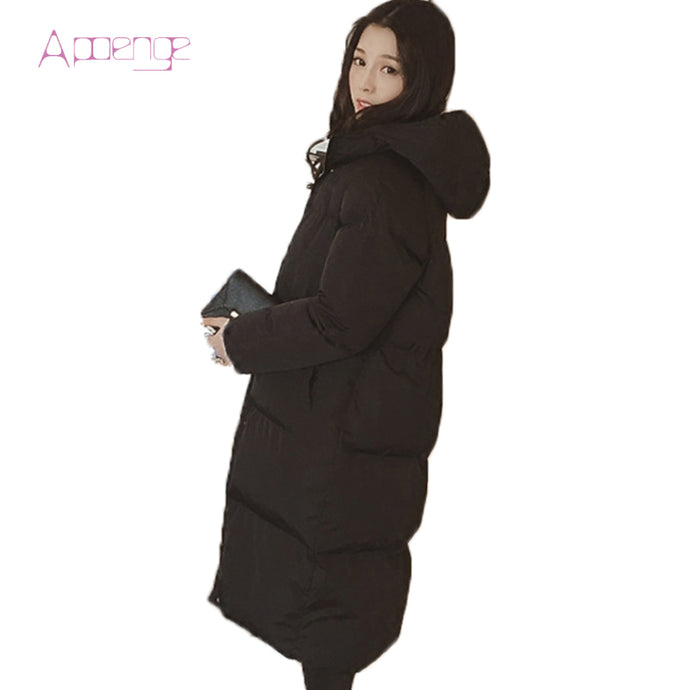 APOENG 2017 New Slim Padded Coat For Women Long Winter Jacket Wadded Snow Coats Causal Hooded Parkas Zipper Parka LZ420 - 64 Corp
