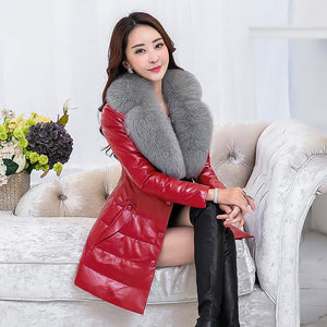 2017 Winter women Long duck Down cotton pu jacket  thicken warm collar Single Breasted snow parka Warm for cold weather w1486 - 64 Corp