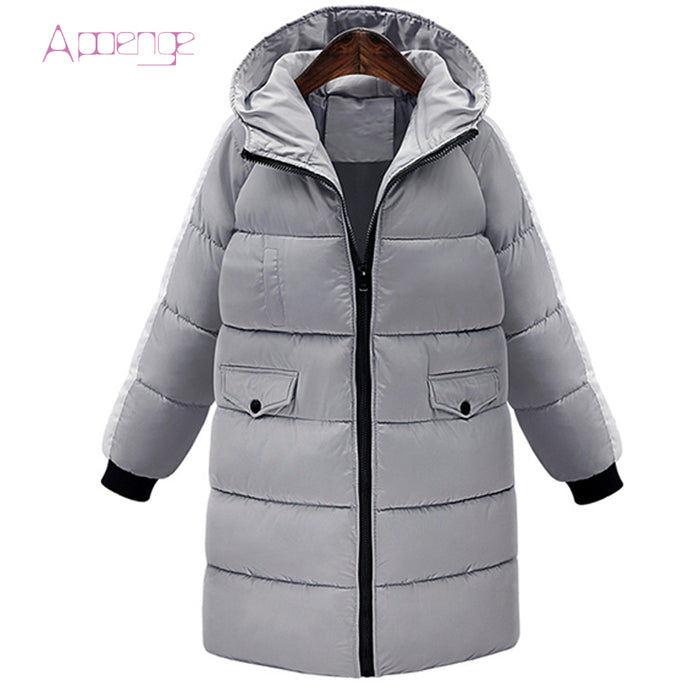 APOENG women long cotton coat for cold weather 2017 winter jacket female padded hooded parka mujer loose causal jackets LZ398 - 64 Corp