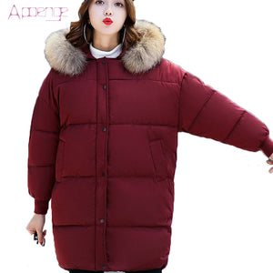 APOENG Women Winter Jacket 2017 New Wadded Clothing Long Coats Cotton Slim Parkas With Pockets Ladies Parka Mujer LZ417 - 64 Corp