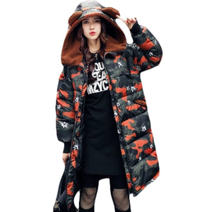 Hot Sale Women Hoodie Zipper Winter Loose Bear Ear Hooded Camouflage Military Parka Jacket Warm Outerwear for Cold Weather XH514 - 64 Corp