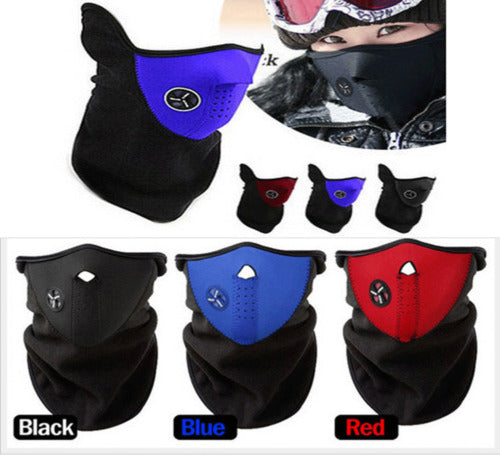 2018 New Winter Cold Weather Face Mask Women Men Motorcycle Snowboard Neck Warmer Neoprene Fleece Outdoor Activity Mask Blue&Red - 64 Corp
