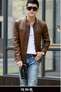 Leather Jacket Men male casual motorcycle leather jacket Mens fashion veste en cuir pu jackets design stand collar COAT 2018 new