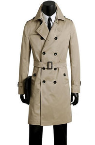 Male trench coat men's clothing plus size spring and autumn long trench design double breasted coats men khaki outerwear fashion