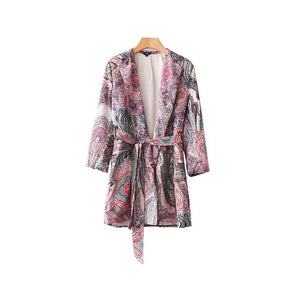 Vadim fashion paisley pattern kimono coat open stitch bow tie sashes long sleeve outerwear ladies summer loose tops CA013