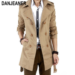 2016 Trench Coat Men Classic Double Breasted Mens Long  Coat Masculino Mens Clothing Long Jackets & Coats British Style Overcoat
