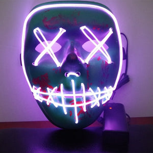 Halloween Led Luminous Mask Horror Grimace Bloody EL wire Halloween Carnaval Party Club Bar DJ Glowing Full Face Masks