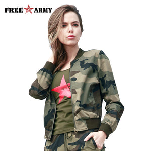 New Military Fashion Bomber Jacket Women Spring Casual Coats V-Neck Collar Jackets Slim Zipper Outerwear & Coats Female Clothing