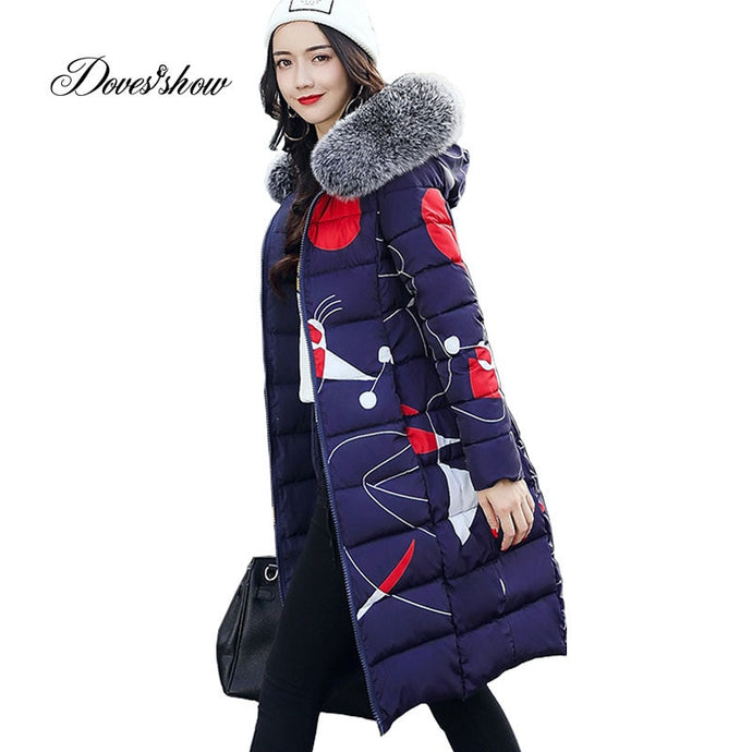 Thick Winter Jacket Women Fur Collar Padded Coat Mujer Reversible Jacket Overcoat Parka Wadded Casaco Feminino Female Jacket