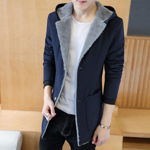 2018 Fashion Winter Men 's Cashmere Warm Jacket Hoodie Trench , 5XL Plus Size Man Jackets , Winter Warm Hood Mens Coats