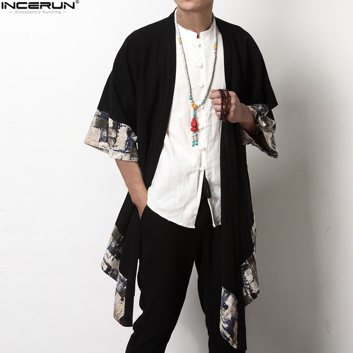 2018 Plus Size Fashion Men Long Outwear Shirts Half Sleeve Irregular Chinese Style Retro Male Cloak Coats Stylish Casual Trench