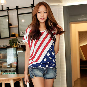 Independence Day American Flag Print Shirt Tops Blouse - 64 Corp