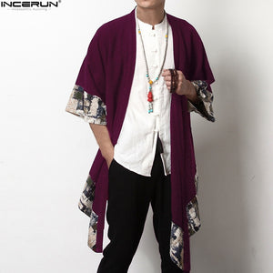 2018 Plus Size Men Fashion Long Outwear Shirts Chinese Style Vintage Half Sleeve Irregular Male Trench Stylish Casual Cloak Coat