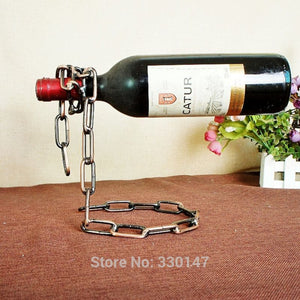 Wine Racks Magic Chain Wine BottleStand Suspension bottle holder Metal Single Hanging Portable Handmade Plating Self Rack