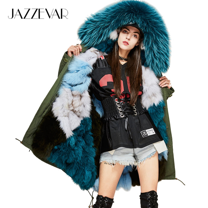 JAZZEVAR New Fashion Woman Luxurious Real Fox fur lining Military Parka MIDI Large Raccoon fur Hooded Coat Outwear Winter Jacket