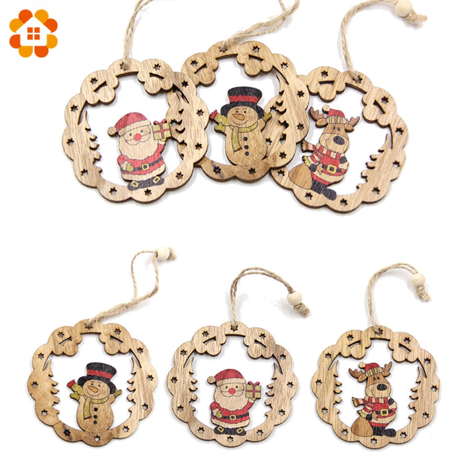 New!3PCS Creative Christmas Wooden Pendants Xmas Tree Ornaments DIY Wood Crafts For Home Christmas Party Decorations Kids Gift