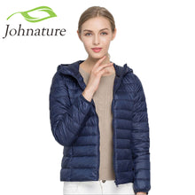 Johnature 2018 Hooded 90% White Duck Jacket Autumn Winter 12 Colors New Warm Slim Zipper Women Fashion Light Down Coat S-3XL