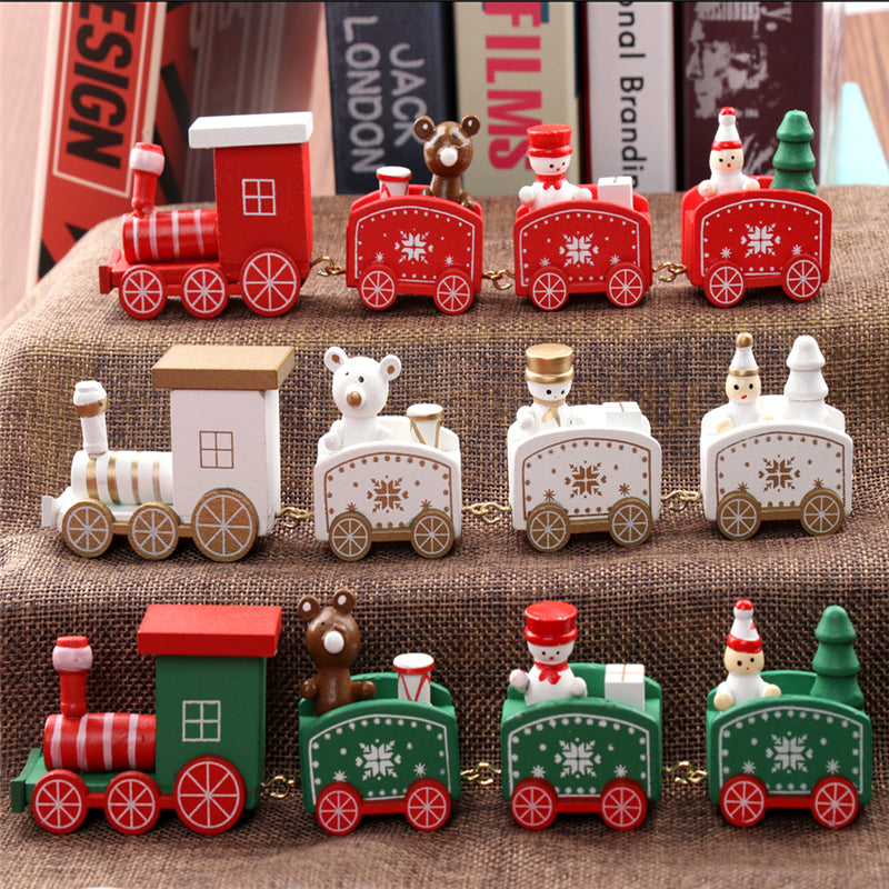 new christmas train painted wood christmas decoration for home with santabear xmas kid toys