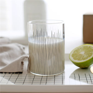 Creative Striped Transparent Juice Glass Cups Quality Borosilicate Round Tumbler Glass Coffee Tea Mug Water Drinking Glassware