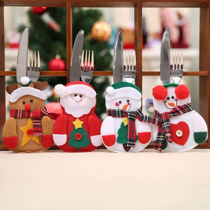 Christmas Bag Dinner Table Cutlery Holder Decoration for Home Snowman Santa Claus Knife Fork Holder Navidad Natal Supplies