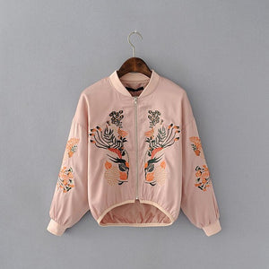 Vintage Floral Embroidery Basic Jacket Coat Women Autumn 2018 Street Bomber Jacket Baseball Jackets Jaqueta Casaco Feminina L997